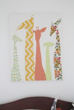The Quick Journey: Giraffe Canvas - very cute! DIY with fabric on a white canvas.