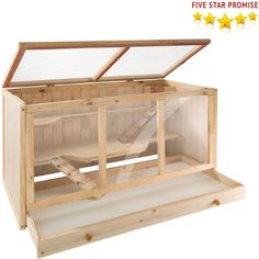 Wooden Hamster Cage Rodent Mouse Pet Small Animal Kit Guinea Villa Hut U Gerbil Cages, Bunny Cages, Rabbit Cages, Hamsters As Pets, Rodents, Guinea Pig Hutch, Guinea Pigs, Grande Cage Hamster, Eckhaus