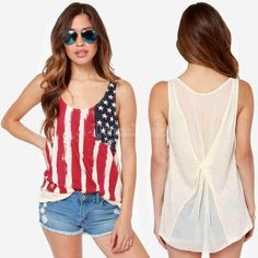 WOMEN\'S JUNIORS RACERBACK TANK TOP USA FLAG AMERICAN PRIDE PATRIOTIC TEE S-XL
