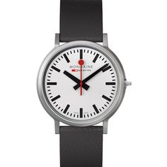The official, exclusive Swiss Railways Watch. This Mens Mondaine watch has a stainless steel case, set around a white dial, featuring black markers, sweeping red hand and movement. A black leather strap completes the look. Stainless Steel Case, Watches For Men, Black Leather, Bangles, Earrings, Accessories, Jewelry, Clocks, Corning Glass