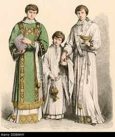 Roman Catholic deacon wearing a dalmatic robe (left), an altarboy, and a subdeacon, 1500s - 1600s. Stock Photo