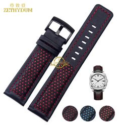 $29.00 (Buy here: https://alitems.com/g/1e8d114494ebda23ff8b16525dc3e8/?i=5&ulp=https%3A%2F%2Fwww.aliexpress.com%2Fitem%2FGenuine-Leather-Bracelet-Watchband-22mm-mens-watch-strap-black-with-red-blue-stitched-Breathable-wrist-watches%2F32715074418.html ) Genuine Leather Bracelet Watchband 22mm mens watch strap black with red blue stitched Breathable wrist watches belt accessories  for just $29.00
