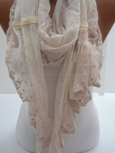 Cream Shawl/Scarf  with Lace. $19.90, via Etsy.  Love this!