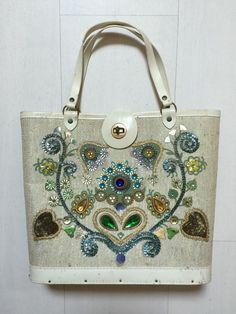 f750ea9424c 1960s Bucket Bag with Heart Shaped Floral Design Vintage Handbag  https   www.