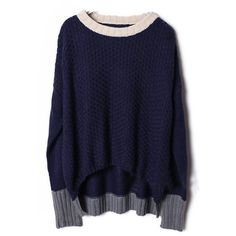 Navy Long Sleeve Contrast Trims Pullovers Sweater ($43) ❤ liked on Polyvore