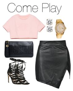 """Don't"" by mrsjetsetterunknown ❤ liked on Polyvore featuring River Island, Moschino and Rolex"