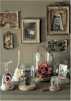 old picture frames Look for old frames and cloches at Jo Wray's, 3355 Hwy 82 E, Kilmichael, MS Turn at the pink truck. Glass Dome Display, Glass Domes, Glass Jars, Wine Glass, Glass Marbles, The Bell Jar, Bell Jars, Cloche Decor, Types Of Glasses