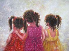 Three Sisters Art Print three girls art brunette girls wall art childrens art sister love pink red sister gift Vickie Wade art (20.00 USD) by VickieWadeFineArt