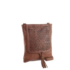 Manzoni Accessories - Tan Leather Lace Crossbody - N583
