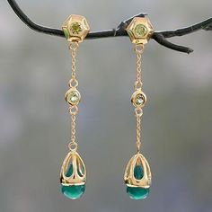Handcrafted Green Onyx and Peridot 18k Gold Vermeil Earrings - Jaipuri Green | NOVICA