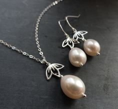 THREE SETS of matching Pearl necklaces and by OtisBWeddings, $150.00