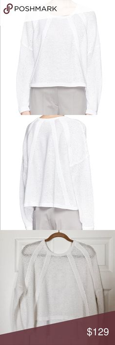 HELMUT LANG 'Plov' Cord Knit Sweater HELMUT LANG - 'Plov' White cord knit sweater. Pre-loved, excellent condition, with some minor pulling (as shown in images). Size small, true to size. I am on the fence about selling this, as it truly is beautiful, but slightly too large for my narrow shoulders. 100% cotton. Open to trades. Helmut Lang Sweaters Crew & Scoop Necks