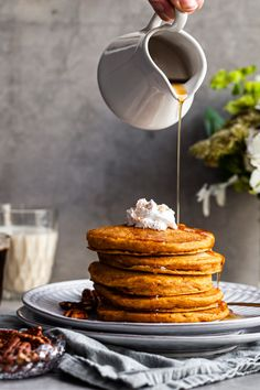 Vegan Pumpkin Pancakes Vegan Pumpkin Pancakes, Pumpkin Puree, Spiced Pumpkin, Pumpkin Recipes, Fall Recipes, Breakfast Photography, Food Photography, Plant Based Snacks, Easy Brunch Recipes