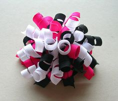 Pink and Black Korker Bow - Small Korker Hair Bow