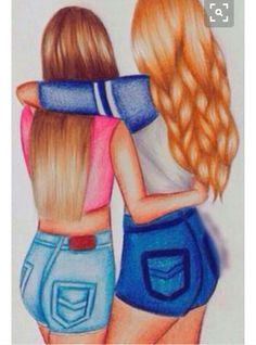 fille meilleur amie simple | dessin fille | Dessin, Dessin pour sa meilleure amie et Dessin amitié