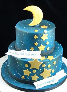 Twinkle Twinkle little star gender reveal baby cake