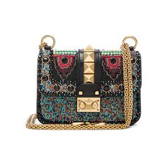 Valentino Mini Ethnic Glam Lock Bag (€1.860) ❤ liked on Polyvore featuring bags, handbags, shoulder bags, valentino, bolsas, mini handbags, valentino shoulder bag, man bag, leather purses and purse shoulder bag