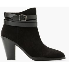 MANGO Buckle Ankle Boots (125 AUD) ❤ liked on Polyvore featuring shoes, boots, ankle booties, black, black buckle booties, ankle boots, short boots, black ankle boots and buckle ankle boots