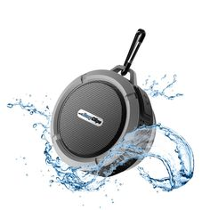 Waterproof Speaker, Wireless Bluetooth Speaker For Outdoor/Shower with Built-in Microphone & Suction Cup & Snap Hook - Black