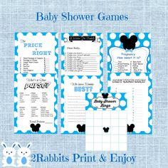 #Mickey #Mouse 7 #Printable #Baby #Shower #Games. These are all popular baby shower games and are easy for every guest to participate in.  Since they are printables, the planning will have been done for you!