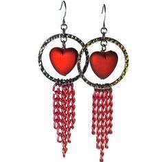 Heart Earrings With Red Multi-Chain Fringe by BluKatDesign Rose Earrings, Simple Earrings, Beaded Earrings, Crochet Earrings, Chandelier Earrings, Beaded Jewelry, Heart Shaped Earrings, Heart Jewelry, Heart Shapes