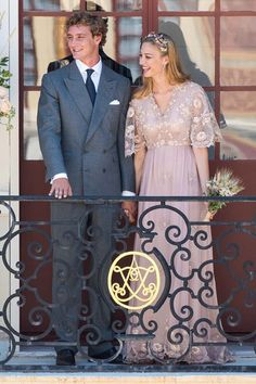 Wedding of Pierre Casiraghi and Beatrice Borromeo, July 27, 2015 | Royal Hats: Beatrice wore a dusty pink v-necked, empire waisted gown by Valentino and completed the look with a small headband of fresh flowers.