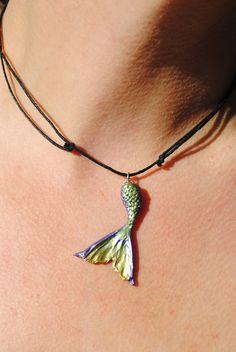 Medium Custom Handmade OOAK Lucky Mermaid Tail necklace. $40.00, via Etsy.