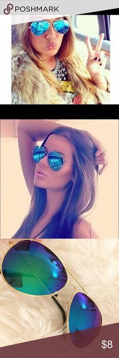 Blue mirrored mirror aviator sunglasses fashion Brand new / blue and gold aviator sunglasses Accessories Sunglasses