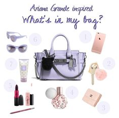 """""""Ariana Grande inspired: What's in my bag?"""" liked on Polyvore ♡ Pinterest : ღ Kayla ღ"""