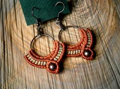 Macrame earrings/Beaded earrings/Macrame hoop earrings/Macrame earrings/Bohemian jewelry/Macrame jewerly