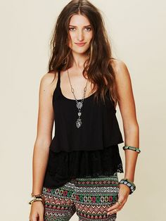 Free People Tiered Lace Racer Cami in black, $58.00