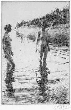 Anders Zorn (1860–1920), impressionist nude female skinny dippers etching, 1913.