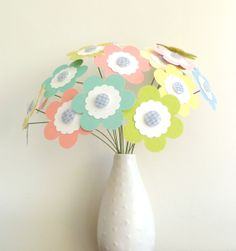"Paper Flower Bouquet - Easter Pastel Colors 16 stems 10"" - bridal shower decor"