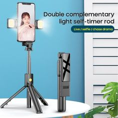 6 expandable sections Max lenght 70cm Double LED Beauty Lamp Steady alloy shaft 360 vertical & horziontal rotation Bluetooth Remote Perfect Christmas Gift!!