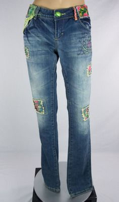 Desigual Jeans Sz 30 S Regular Fit Floral Patch Faded #Desigual #SlimSkinny