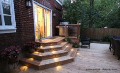 Getting The Most Out Of A Deck With Patio Designs – Pool Landscape Ideas Patio Stairs, Pergola Patio, Backyard Patio, Backyard Landscaping, Pergola Curtains, Pergola Kits, Gazebo, Deck Steps, Outdoor Steps
