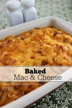This easy baked mac and cheese recipe is comfort food in it's truest form! It's perfect for any weeknight meal or for your next pitch in dinner or party!