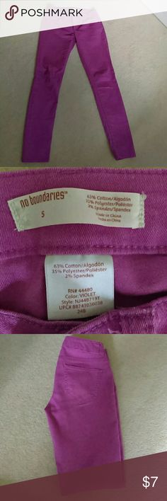 No Boundaries (Walmart Brand) Purple Skinny Jeans Beautiful rare No Boundaries (Walmart brand) jeans.  Only warn a handful of times.  In great condition!  Light weight and soft! No Boundaries Jeans Skinny