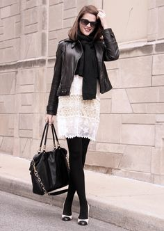 Fashion Blog, Style Blog, Jessica Quirk Blog, Jessica Quirk, What i Wore, @whatiwore, black leather jacket, moto jacket, how to wear a summer dress in winter, lace dress for winter, Black and White outfit idea, What I Wore blog, What I Wore Outfits, Spectator Pumps, J. Crew
