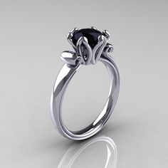 Antique 18K White Gold 1.5 Carat Black Diamond Solitaire Engagement Ring AR127-18KWGBD