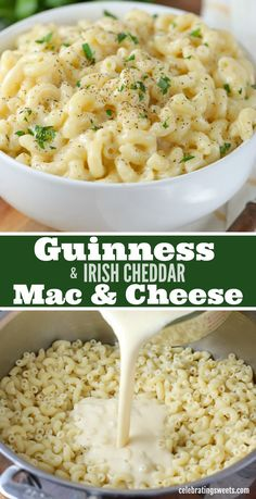 Guinness and Irish Cheddar Mac & Cheese This flavorful stovetop mac and cheese is made with Guinness stout, sharp Irish cheddar, and a touch of dijon. Cheddar Mac And Cheese, Stovetop Mac And Cheese, Macaroni Cheese, Mac Cheese Recipes, Pasta Recipes, Dinner Recipes, Cooking Recipes, Irish Mac And Cheese Recipe, Sweets Recipes