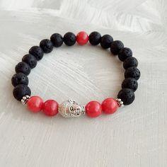 Buddha Silver Bracelet Red Jade Bracelet Black by TheZenJewelry