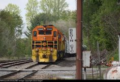 BPRR 3344   Description:  SIRI-Salamanca to Riker train waits for RISI to arrive.   Photo Date:  5/22/2014  Location:  Mount Jewett, PA   Author:  Dave Eagen  Categories:  Action  Locomotives:  BPRR 3344(SD40-3)