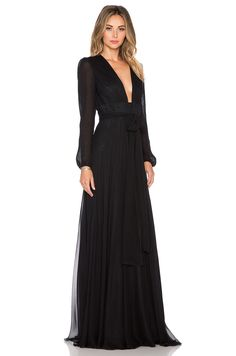 omg SO in love with this outrageously gorgeous JILL JILL STUART Deep V Maxi Dress in Black! long-sleeves, deep v-neck, tie waist, long flowy gathered full skirt, sheer long blouson sleeves swoon!
