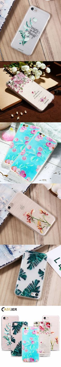 CASEIER Spring Phone Case For iPhone 7 8 Plus Soft TPU Ultra-thin 3D Relief Pattern Cover For iPhone 7 8 Silicone Funda Capinha