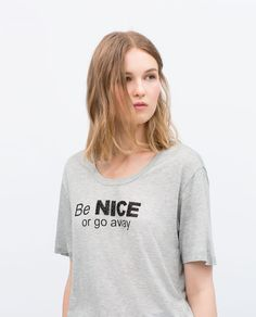 Image 1 of SEQUIN TEXT T-SHIRT from Zara
