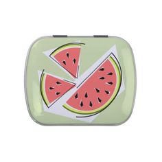 Watermelon Green Pieces candy tin - cool gift idea unique present special diy