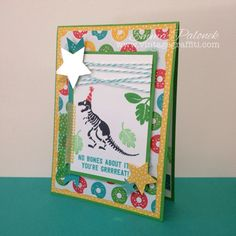 No Bones About It Boys Dinosaur card featuring Cherry On Top DSP | Vintage Graffiti | Emma Palonek – Independent Stampin' Up! Demonstrator | www.vintagraffiti.com | www.facebook.com/vintagegraffiti