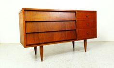 mid century modern walnut louver drawer by AtomicJunkiesGallery