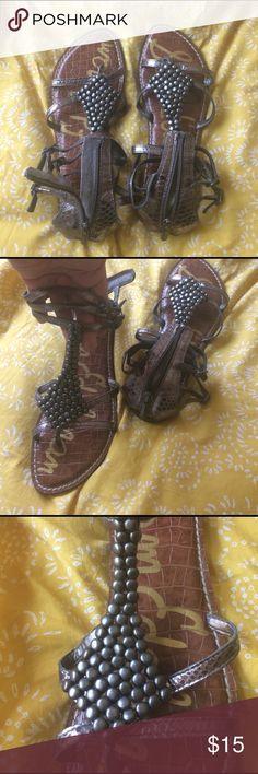 Sam Edelman metallic sandals Metallic 3 strap pewter/gunmetal sandals with back zipper and stud detail on front. Sam Edelman Shoes Sandals